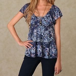 Free People sun kissed florals babydoll top blue